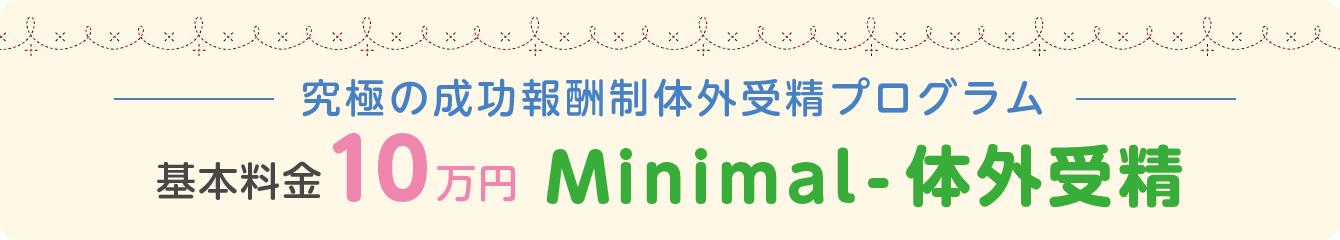 究極の成功報酬制体外受精プログラム 基本料金10万円 Minimal体外受精